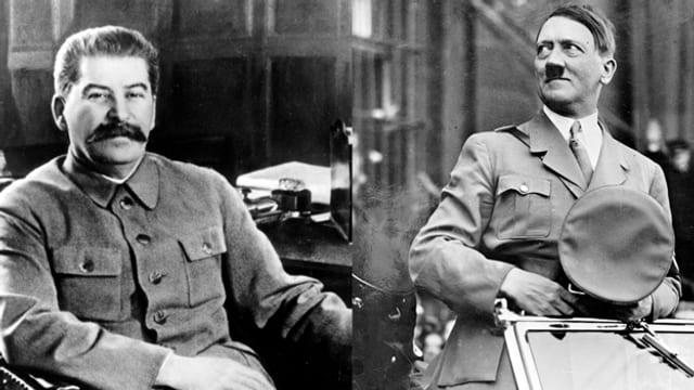 Ein zusammengeschnittenes Bild von Stalin (links) und Hitler.