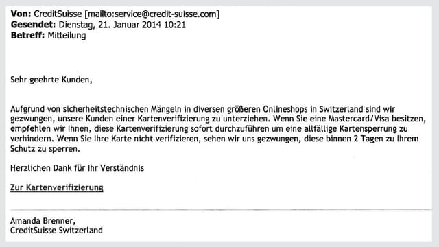 Auszug aus einem Phishing-Mail.