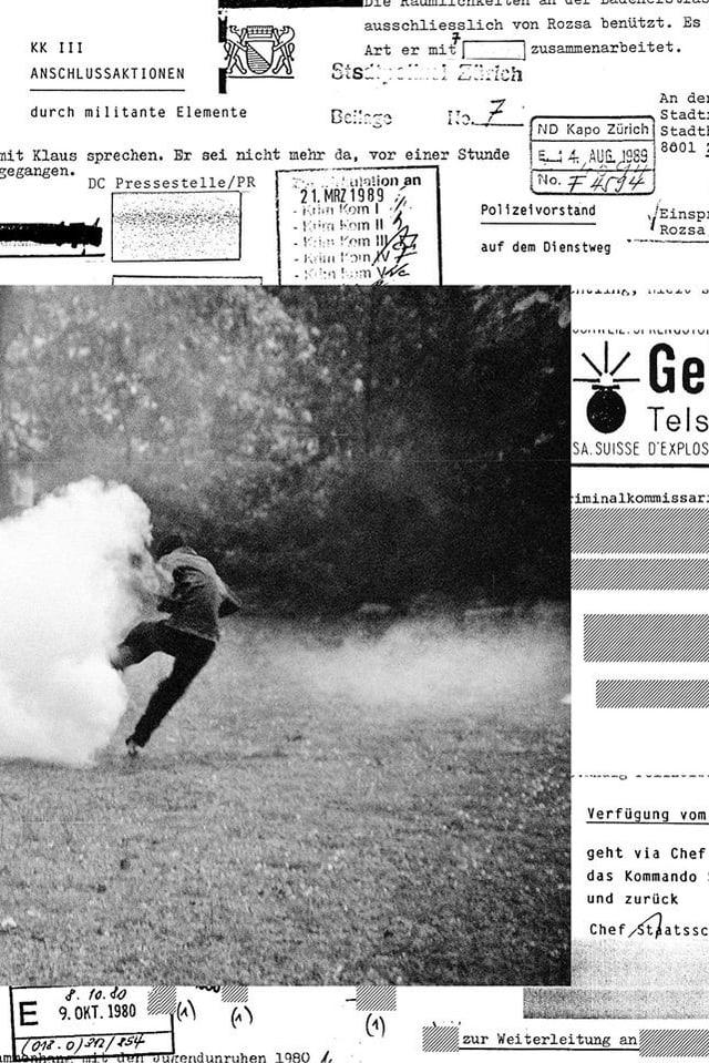 Collage aus einem Schwar-weiss-Bild und amtlichen Dokumenten.