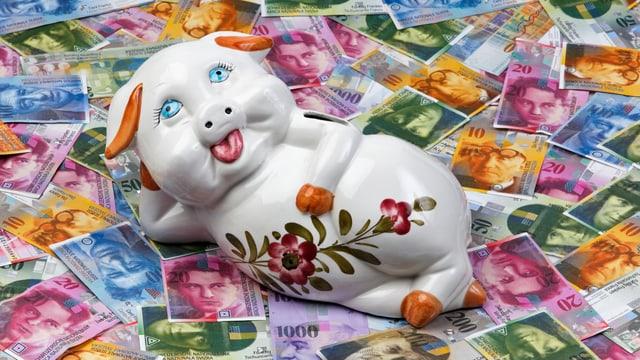 Ein Sparschwein liegt auf mehreren Geldnoten.