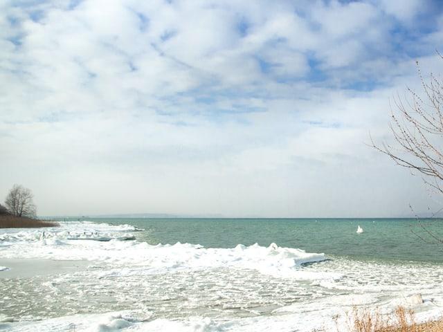 Seeufer mit ganz viel Eis, das meterweit in den See hinausragt, wie im hohen Norden.