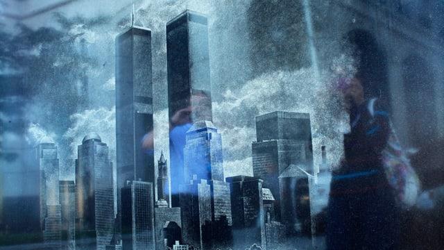 Verschwommenes Bild der Türme des World Trace Centers.
