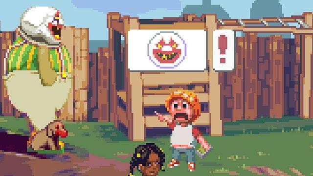 Ein Kind zeigt schreiend auf einen umheimlichen Clown.