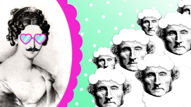 Bildmontage von Philosophin mit Moustache und Sonnenbrille.