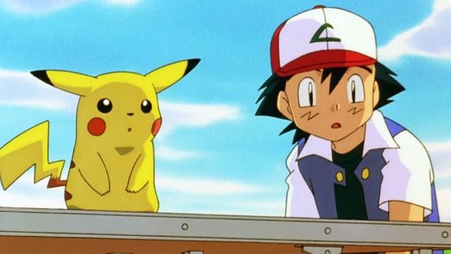 Zeichentrick: Kleines gelbes Monster und ein Junge mit Baseball-Mütze.