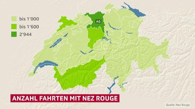 Schweizer Karte mit dem Kanton Aargau hervorgehoben.