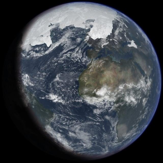 So oder ähnlich könnte die Erde während der letzten Eiszeit ausgesehen haben, wie die computergenerierte Visualisierung zeigt.