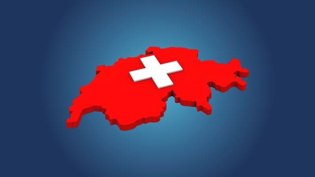Umriss Schweiz mit weissem Kreuz in der Mitte