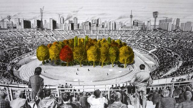 Eine Zeichnung eines Fussballstadions, in der Mitte auf dem Spielfeld steht ein Wald.