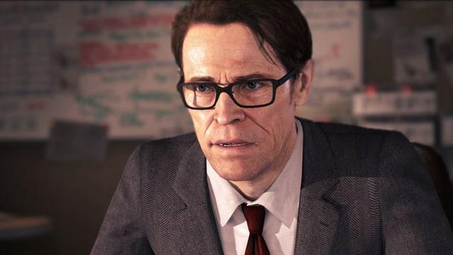 Portraitaufnahme der Game-Figur Nathan Dawkins, gespielt von Willem Dafoe.