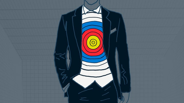 Gezeichneter Mann im Anzug mit Zielscheibe auf dem Hemd.