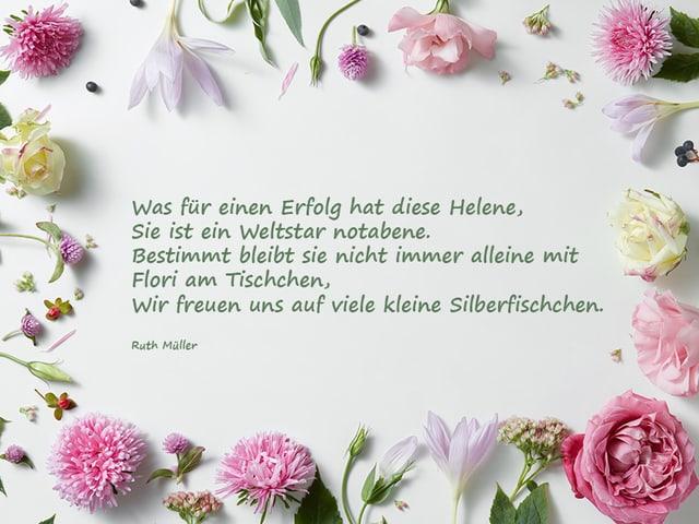 Ein Gedicht auf weissem Papier, das mit Blumen umrahmt ist.