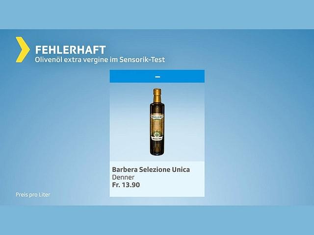 Fehlerhaft: Dieses Öl (gekauft bei Denner) entspricht nicht der Qualität «extra vergine» und dürfte nicht als solches verkauft werden.