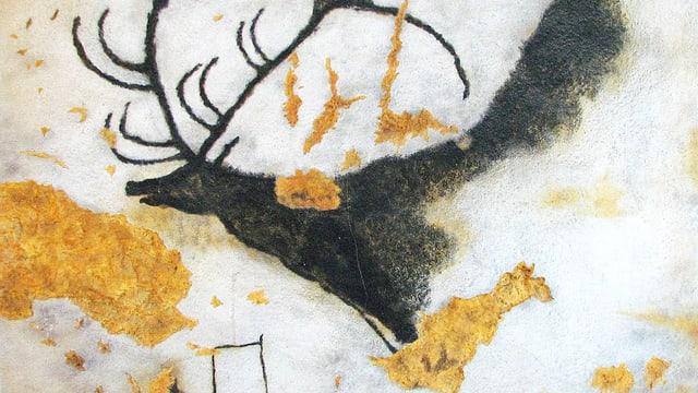 Ein Riesenhirsch und eine rätselhafte Linie von Punkten: Eine Felszeichnung in der Höhle von Lascaux.