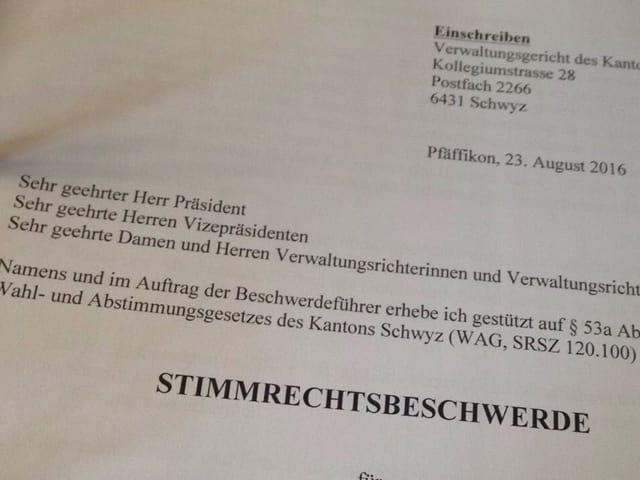 Bild eines Briefes mit dem Betreff «Stimmrechtsbeschwerde».