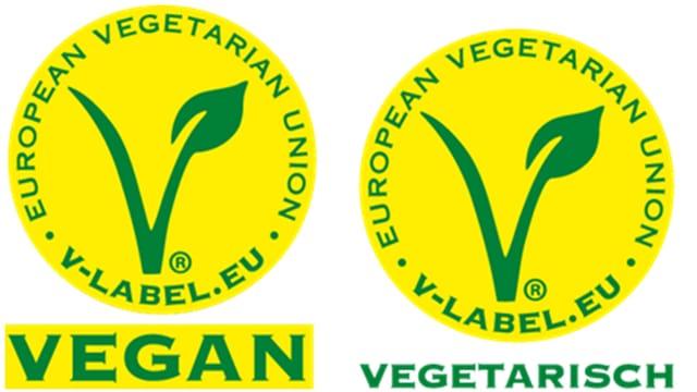 Zwei runde gelbe Labels mit grüner Schrift
