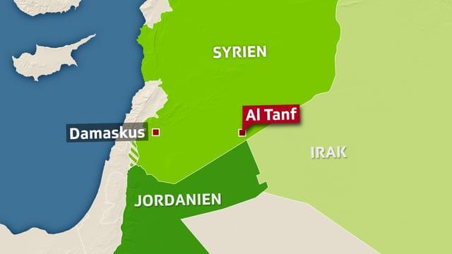 Karte von Syrien, Jordanien und Irak, eingezeichnet al-Tanf