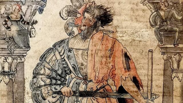 Zeichnung eines Mannes, der links teure Kleidung trägt und rechts zerlumpt.