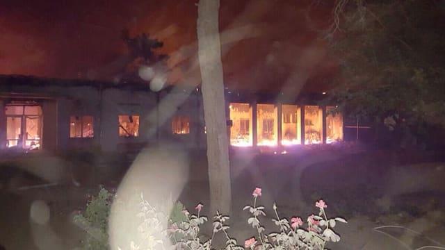 Brennendes Gebäude.