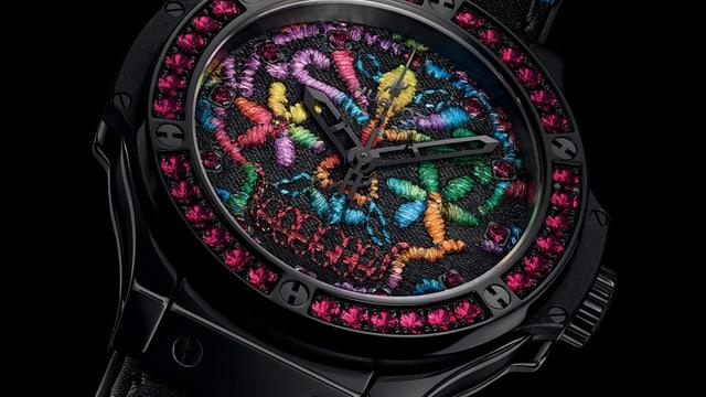 Eine Uhr verziert mit St. Galler Stickerei: Hublot Big Bang Broderie.
