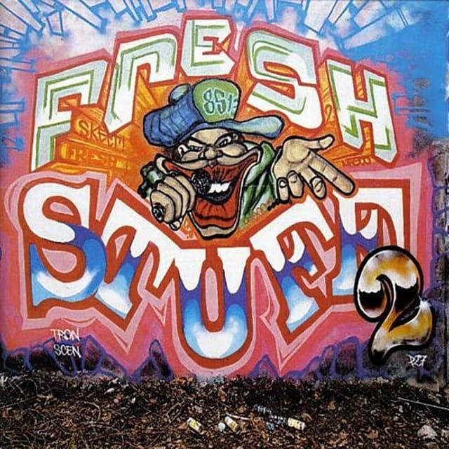 """CD-Cover: Ein Graffitti mit der Aufschrift """"Fresh Stuff 2"""""""