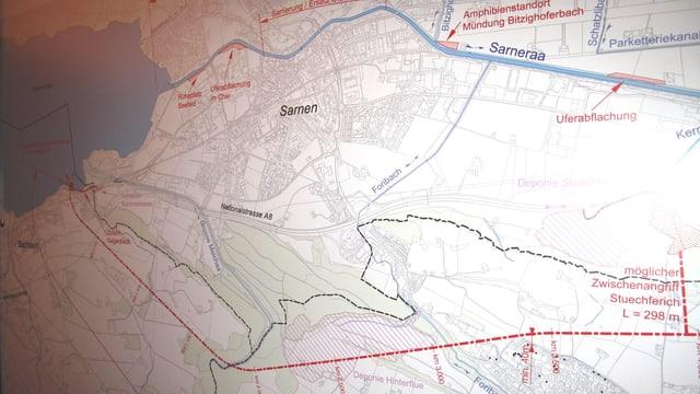 Plan für Hochwasserschutz.
