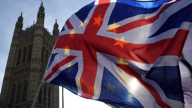 Britische Fahne vor EU-Fahne