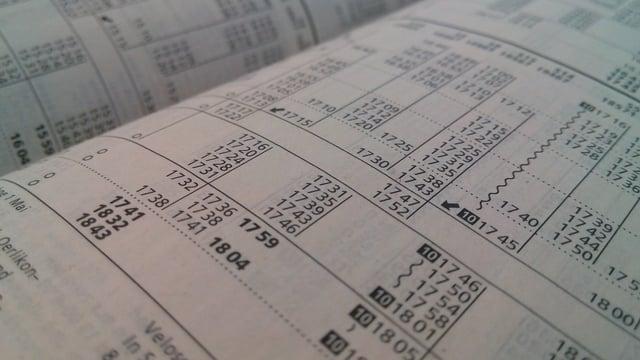 Foto eines ZVV-Fahrplans.