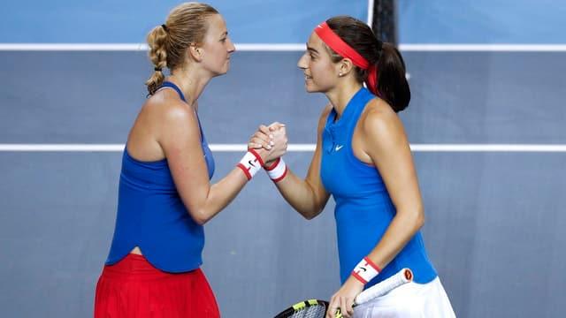 Kvitova muss Garcia zum Sieg gratulieren.