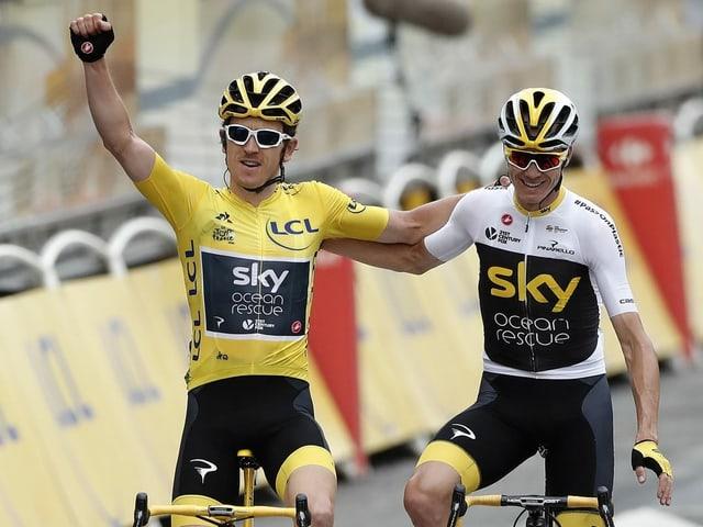 Geraint Thomas (l.) und Chris Froome (r.). Hier noch vom Team Sky engagiert.