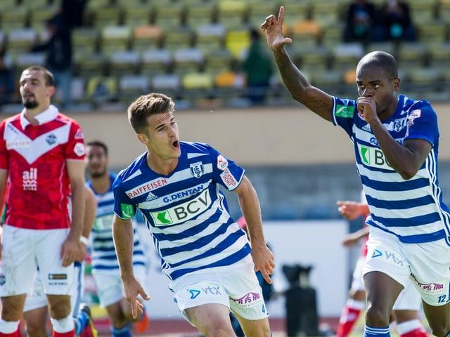Lausanne bejubelt einen Treffer gegen Lugano