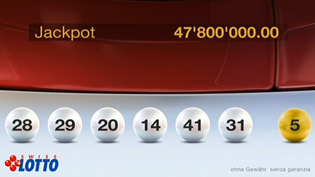 Die sechs weissen Lottokugeln und die gelbe Kugel mit der Zusatzzahl.