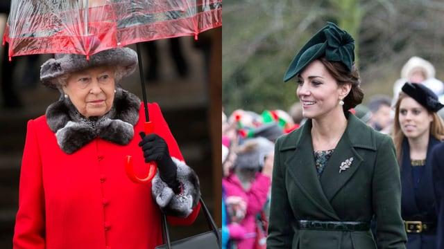 Queen Elizabeth im roten Mantel und mit Schirm. Herzogin Catherine in grünem Mantel und lächelnd.