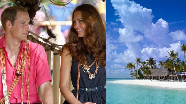 William und Kate schauen sich verliebt an. Daneben ist ein Bild eines tropischen Strandes zu sehen.