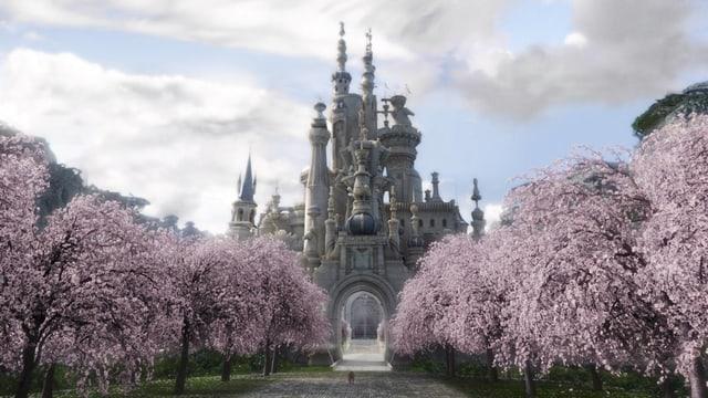 Auf dem Bild ist ein prachtvolles Schloss und eine wunderschöne Allee mit rosa blühenden Bäumen zu sehen.