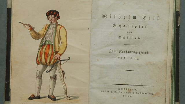 Historisches Buch mit Wilhelm Tell von Schiller