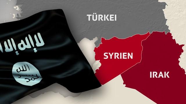 Schwarze Dschihadisten-Flagge sowie Karten-Ausschnitt der Umrisse von Syrien und Irak zeigt.