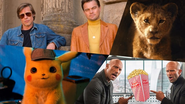 Collage «The Lion King», «Hobbs & Shaw», «Pokémon: Detective Pikachu», «Once Upon a Time in Hollywood»