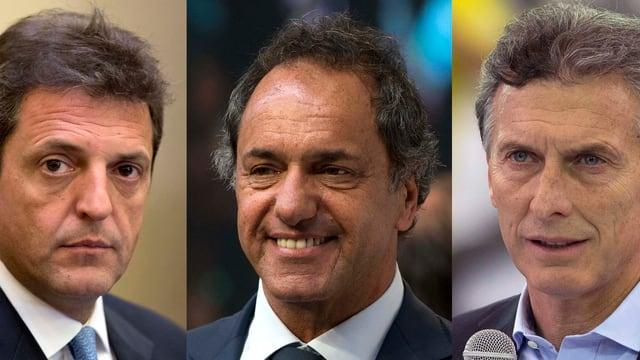 Links: Sergio Massa, Mitte: Daniel Scioli, Rechts: Mauricio Marci