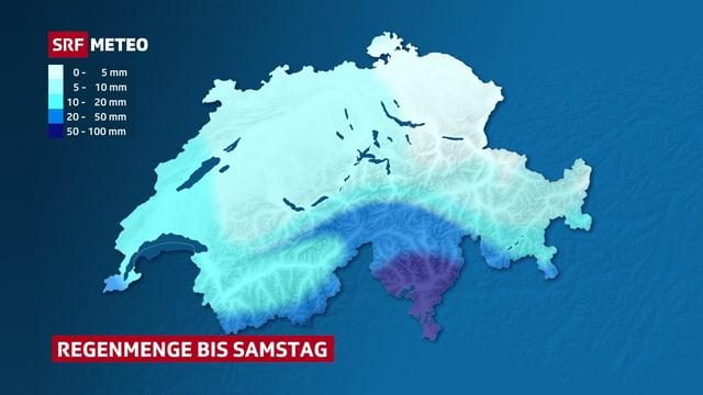 Eine Karte zeigt, wo in den kommenden Tagen wie viel Regen erwartet wird.