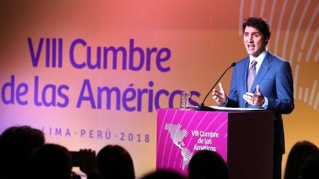 Kanadas Premier bei seiner Rede in Lima.