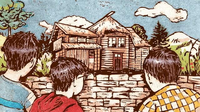 3 Kinder schauen in Richtung einer Holzhütte