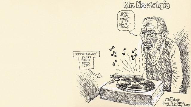 Zeichnung eines weinenden Mannes neben einem Plattenspieler.