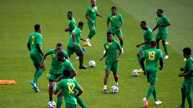 Das Jamaikanische Fussballteam beim Training.