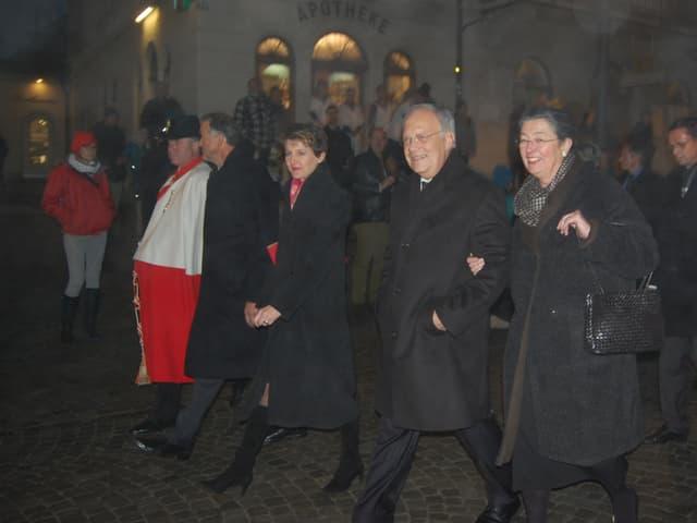 Ehepaar Schneider-Ammann, Noch-Bundespräsidentin Simonetta Sommaruga, Stadtpräsident Thomas Rufener.