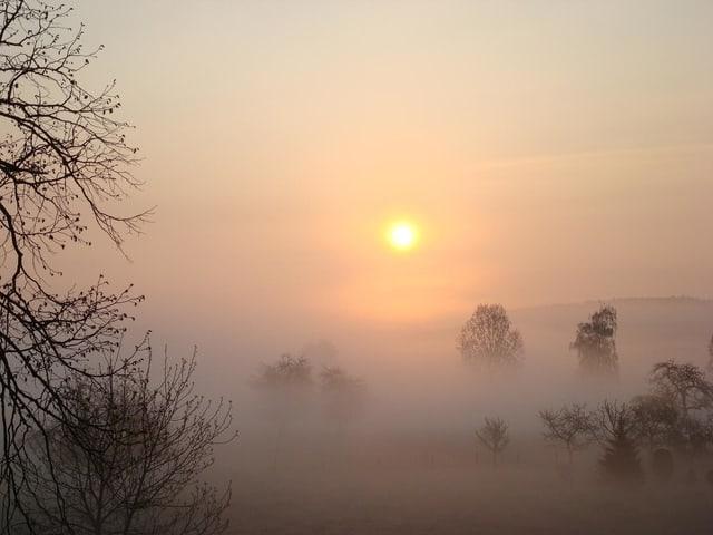 Die Bewohner der Täler sehen wohl kaum etwas anderes als Nebelgrau. Knapp an der Nebelobergrenze staunt man über den hübschen Sonnenaufgang.