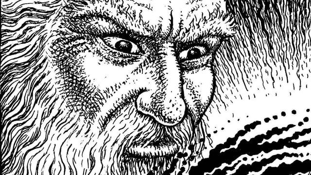 Illustration: Ein Mann mit langem, weissem Haar und bösem Blick.