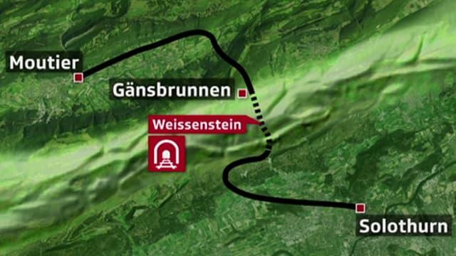 Die Bahnlinie von Solothurn nach Moutier, dargestellt auf einem Satellitenbild