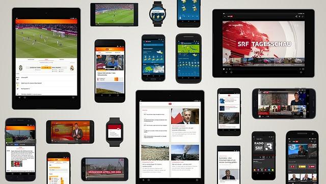 SRF Sport App auf einem Tablet und einem Smartphone