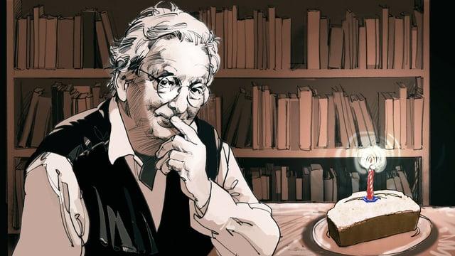 Eine Illustration von Peter Bichsel. Er hält den Zeigefinger an den Mund. Neben ihm ist ein Kuchen.